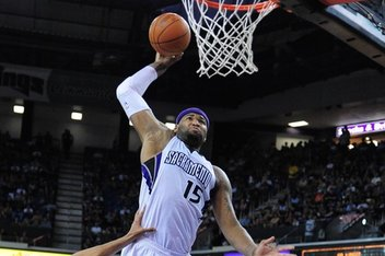 April 20, 2012; Sacramento, CA, USA; Sacramento Kings power forward DeMarcus Cousins (15) dunks the ball against the Oklahoma City Thunder during the third quarter at Power Balance Pavilion. The Thunder defeated the Kings 103-92. Mandatory Credit: Kyle Terada-US PRESSWIRE