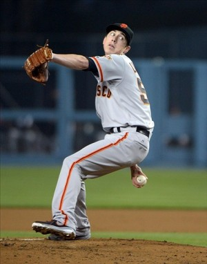 Apr 3, 2013; Los Angeles, CA, USA; San Francisco Giants starter Tim Lincecum (55) delivers a pitch against the Los Angeles Dodgers at Dodger Stadium. Mandatory Credit: Kirby Lee-USA TODAY Sports
