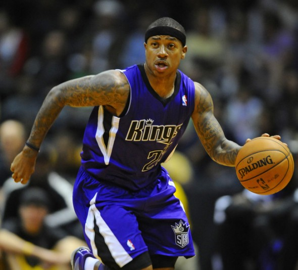 October 25, 2012; San Diego, CA, USA; Sacramento Kings guard Isaiah Thomas (22) dribbles the ball up court during the third quarter against the Los Angeles Lakers at Valley View Casino Center. Mandatory Credit: Christopher Hanewinckel-US PRESSWIRE