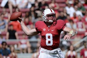 April 13, 2013; Stanford, CA, USA; Stanford Cardinal quarterback Kevin Hogan (8) passes the football during the Cardinal
