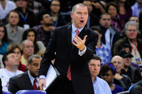 December 22, 2012; Oakland, CA, USA; Golden State Warriors lead assistant coach Michael Malone instructs during the third quarter against the Los Angeles Lakers at ORACLE Arena. The Lakers defeated the Warriors 118-115 in overtime. Mandatory Credit: Kyle Terada-USA TODAY Sports