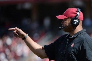 April 13, 2013; Stanford, CA, USA; Stanford Cardinal head coach David Shaw signals during the Cardinal
