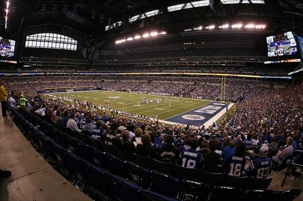 Sep 18, 2011; Indianapolis, IN, USA; A general view during the game between the Cleveland Browns and Indianapolis Colts at Lucas Oil Stadium. Cleveland defeated Indianapolis 27-19. Mandatory Credit: Brian Spurlock-USA TODAY Sports