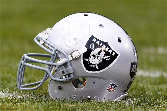 Dec 18, 2011; Oakland, CA, USA; Detailed view of a Oakland Raiders helmet on the field before the game against the Detroit Lions at O.co Coliseum. Mandatory Credit: Jason O. Watson-USA TODAY Sports