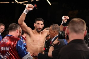 Mar 17; New York, NY, USA; Edwin Rodriguez celebrates his 10 round unanimous decision win over Donovan George at the Theater at Madison Square Garden. Mandatory Credit: Ed Mulholland-USA TODAY Sports