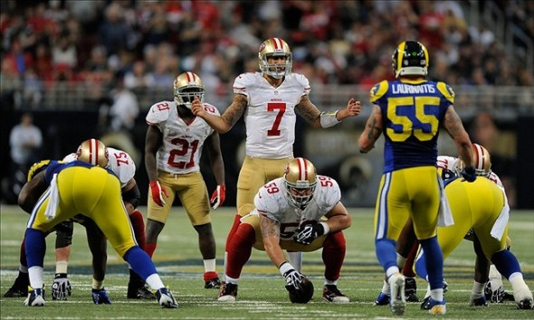 December 2, 2012; St. Louis, MO, USA; San Francisco 49ers quarterback Colin Kaepernick (7) audibles during the second half against the St. Louis Rams at the Edward Jones Dome. St. Louis defeated San Francisco 16-13 in overtime. Mandatory Credit: Jeff Curry-USA TODAY Sports