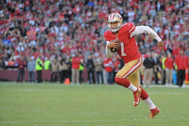 November 11, 2012; San Francisco, CA, USA; San Francisco 49ers quarterback Colin Kaepernick (7) runs the ball during the fourth quarter against the St. Louis Rams at Candlestick Park. The 49ers and the Rams tied 24-24. Mandatory Credit: Kyle Terada-USA TODAY Sports