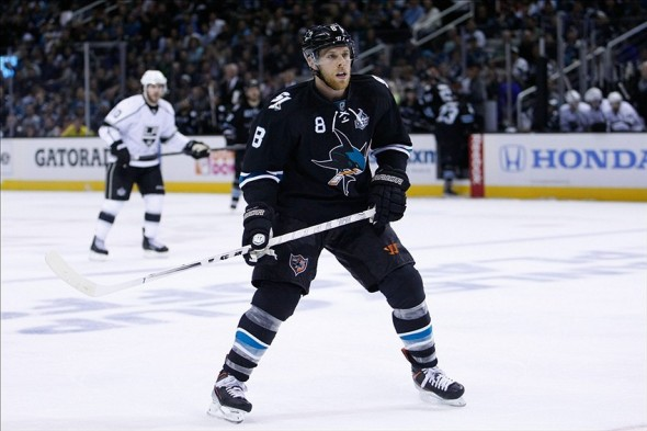 May 21, 2013; San Jose, CA, USA; San Jose Sharks center Joe Pavelski (8) against the Los Angeles Kings during the third period of game four of the Stanley Cup Playoffs at HP Pavilion. The San Jose Sharks defeated the Los Angeles Kings 2-1. Mandatory Credit: Kelley L Cox-USA TODAY Sports