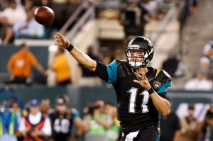 Aug. 18, 2013; East Rutherford, NJ, USA; Jacksonville Jaguars quarterback Blaine Gabbert (11) throws a pass against the New York Jets during the first half at MetLife Stadium. Mandatory Credit: Debby Wong-USA TODAY Sports