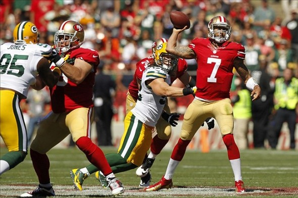 Sep 8, 2013; San Francisco, CA, USA; San Francisco 49ers quarterback Colin Kaepernick (7) prepares to throw a pass against the Green Bay Packers in the second quarter at Candlestick Park. Mandatory Credit: Cary Edmondson-USA TODAY Sports
