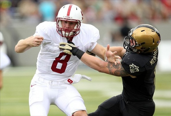 Sep 14, 2013; West Point, NY, USA; Stanford Cardinal quarterback Kevin Hogan (8) fumbles the ball as he