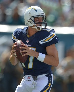 Sep 15, 2013; Philadelphia, PA, USA; San Diego Chargers quarterback Philip Rivers (17) looks to throw the ball against the Philadelphia Eagles during the second half at Lincoln Financial Field. Mandatory Credit: Jeffrey G. Pittenger-USA TODAY Sports