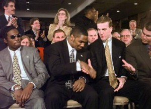 Peyton Manning congratulates Charles Woodson on his Heisman victory with Randy Moss and Ryan Leaf (photo credit: AP)