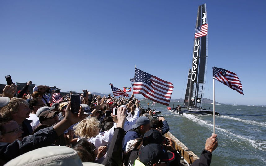 Oracle came through a wild start with two collisions to win Race 17, and then sped past the Kiwis after they made a tactical error to give up the lead in Race 18 in strong wind. All but defeated a week ago, Oracle Team USA tied the faltering Kiwis 8-8 on the scoreboard by winning its 10th race Picture: EPA/MONICA M. DAVEY
