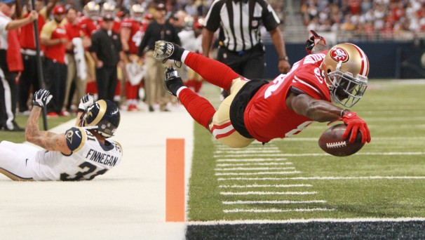 San Francisco 49ers wide receiver Anquan Boldin dives into the end zone… (St. Louis Post-Dispatch,…)