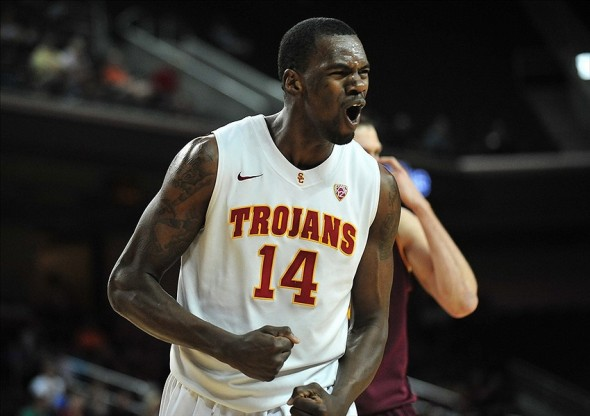 March 2, 2013; Los Angeles, CA, USA; Southern California Trojans forward Dewayne Dedmon (14) reacts after drawing a foul against the Arizona State Sun Devils during the second half at Galen Center. Mandatory Credit: Gary A. Vasquez-USA TODAY Sports