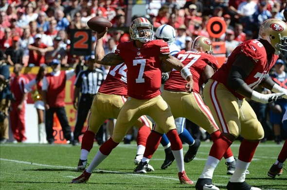September 22, 2013; San Francisco, CA, USA; San Francisco 49ers quarterback Colin Kaepernick (7) passes the ball against the Indianapolis Colts during the first quarter at Candlestick Park. Mandatory Credit: Kyle Terada-USA TODAY Sports