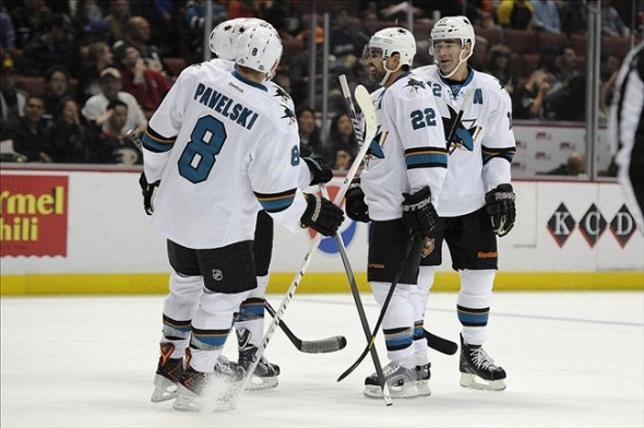 Sep 28, 2013; Anaheim, CA, USA; San Jose Sharks celebrate after a goal by San Jose Sharks defenseman Dan Boyle (22) against the Anaheim Ducks during the second period at Honda Center. Mandatory Credit: Kelvin Kuo-USA TODAY Sports