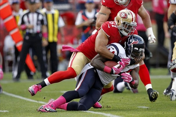 Oct 6, 2013; San Francisco, CA, USA; Houston Texans running back Ben Tate (44) is tackled by San Francisco 49ers inside linebacker Michael Wilhoite (57) in the first quarter at Candlestick Park. Mandatory Credit: Cary Edmondson-USA TODAY Sports