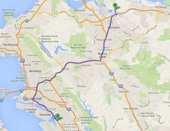 The distance from the O.co Coliseum (point A) to the old Concord Naval Station (point B). Courtesy of Google Maps