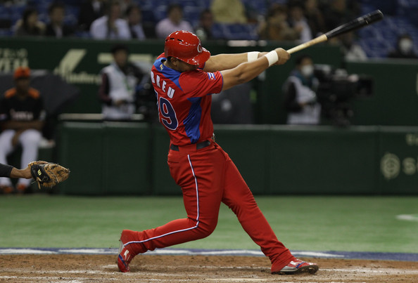 Jose Abreu # 79 of Cuba hits a solo home run in the fourth inning during the World Baseball Classic Second Round Pool 1 game between Cuba and the Netherlands at Tokyo Dome on March 11, 2013 in Tokyo, Japan. (March 10, 2013 - Source: Chung Sung-Jun/Getty Images AsiaPac)