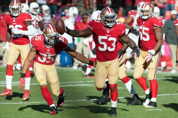 Oct 13, 2013; San Francisco, CA, USA; San Francisco 49ers inside linebacker NaVorro Bowman (53) celebrates after recovering a fumble during the fourth quarter at Candlestick Park. The San Francisco 49ers defeated the Arizona Cardinals 32-20. Mandatory Credit: Ed Szczepanski-USA TODAY Sports