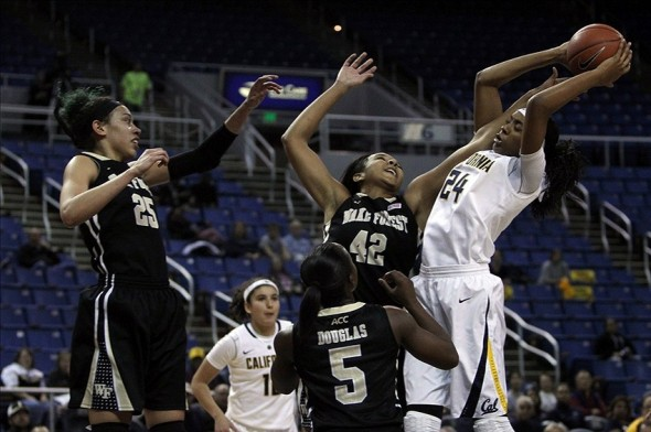Nov 29, 2013; Reno, NV, USA; California Golden Bears forward Courtney Range (24) catches a rebound in the first half against Wake Forest Demon Deacons forward Kandice Ball (42) at Lawlor Events Center. Mandatory Credit: Lance Iversen/USA TODAY Sports