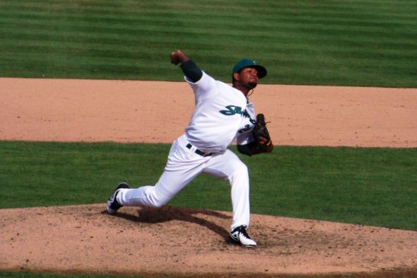 The Oakland Athletics added right-hander Raul Alcantara to the 40-man roster on Wednesday. (Photo courtesy Craig Wieczorkiewicz/The Midwest League Traveler)