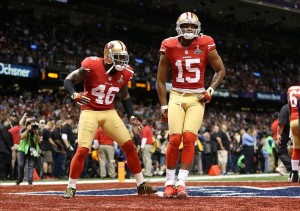 Feb 3, 2013; New Orleans, LA, USA; San Francisco 49ers tight end Delanie Walker (46) and wide receiver Michael Crabtree (15) against the Baltimore Ravens in Super Bowl XLVII at the Mercedes-Benz Superdome. Mandatory Credit: Mark J. Rebilas-USA TODAY Sports