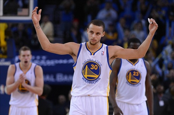 December 11, 2013; Oakland, CA, USA; Golden State Warriors point guard Stephen Curry (30) celebrates against the Dallas Mavericks during the fourth quarter at Oracle Arena. The Warriors defeated the Mavericks 95-93. Mandatory Credit: Kyle Terada-USA TODAY Sports