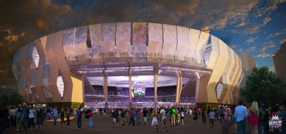 A night view of the Grand Entrance for the new arena in downtown Sacramento. (AECOM via the Sacramento Kings)