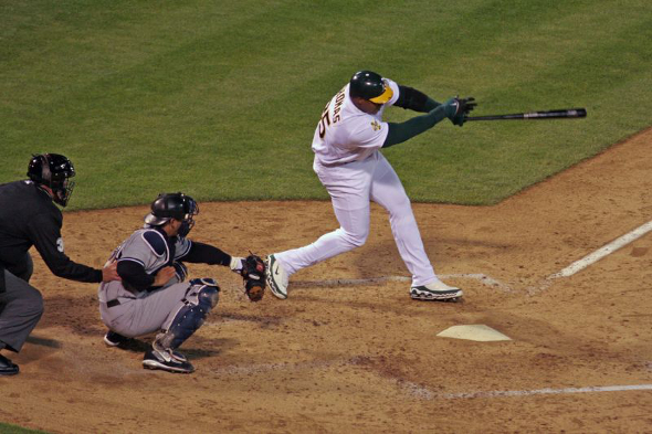 Frank Thomas, who played for the Oakland Athletics in 2006 and 2008, was one of three players elected to the Baseball Hall of Fame on Wednesday. (photo by Ken Nakano/This file is licensed under the Creative Commons Attribution 2.0 Generic license.)