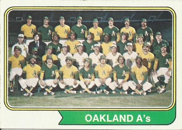 The Oakland Athletics are unveiling a new green alternate jersey that strongly resembles the ones shown in this 1973 team photo shown on a 1974 Topps baseball card.