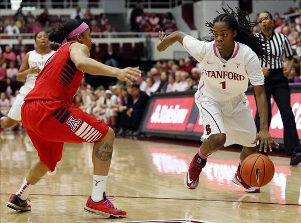 Feb 16, 2014; Stanford, CA, USA; Stanford Cardinal guard Lili Thompson (1) dribbles the ball against the Arizona Wildcats at Maples Pavilion. Mandatory Credit: Bob Stanton-USA TODAY Sports