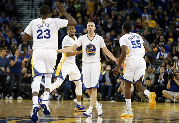 Feb 22, 2014; Oakland, CA, USA; Golden State Warriors guard Steve Blake (25) celebrates after a play against the Brooklyn Nets during the fourth quarter at Oracle Arena. The Golden State Warriors defeated the Brooklyn Nets 93-86. Mandatory Credit: Kelley L Cox-USA TODAY Sports