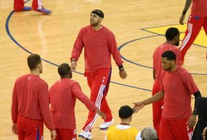 Apr 27, 2014; Oakland, CA, USA; Los Angeles Clippers forward Jared Dudley (9) warms up with teammates wearing their warm up clothes inside-out before game four of the first round of the 2014 NBA Playoffs against the Golden State Warriors at Oracle Arena. Mandatory Credit: Kelley L Cox-USA TODAY Sports