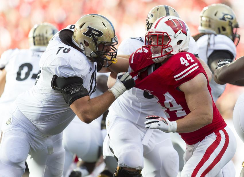 Sep 21, 2013; Madison, WI, USA; Purdue Boilermakers offensive lineman Trevor Foy (78) blocks Wisconsin Badgers linebacker Chris Borland (44) during the fourth quarter at Camp Randall Stadium. Wisconsin defeated Purdue 41-10. Mandatory Credit: Jeff Hanisch-USA TODAY Sports
