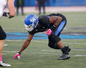 Oct 19, 2013; Buffalo, NY, USA; Buffalo Bulls linebacker Khalil Mack (46) against the Massachusetts Minutemen at University of Buffalo Stadium. Mandatory Credit: Timothy T. Ludwig-USA TODAY Sports