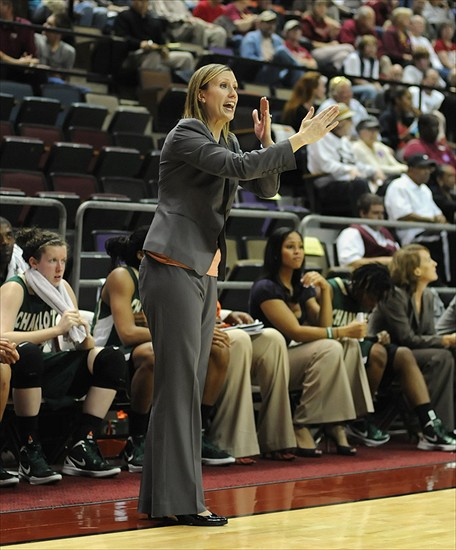 Dec 4, 2011; Tallahassee, FL, USA; Charlotte 49ers head coach Cara Consuegra gives instructions to her team during the second half of the game against the Florida State Seminoles at the Donald L. Tucker Center. Mandatory Credit: Melina Vastola-USA TODAY Sports