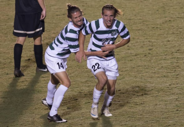 Kyle Parker (22) leads the Niners with eight goals and 19 points, top five in C-USA in both categories. (photo from Charlotte49ers.com)