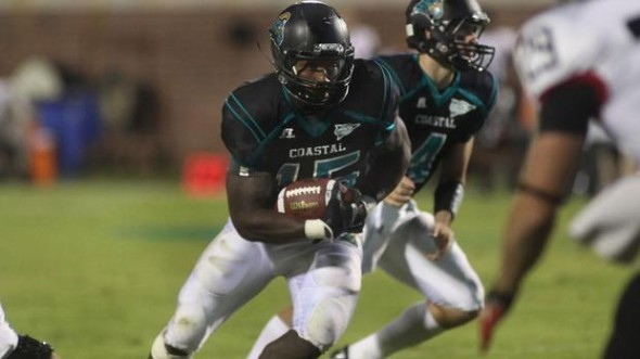 Coastal Carolina RB Lorenzo Taliaferro (photo from BigSouthSports.com)