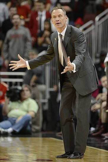 Nov 9, 2013; Louisville, KY, USA; Charleston Cougars head coach Doug Wojcik reacts to a call during the second half of play against the Louisville Cardinals at the KFC Yum! Center. Louisville defeated Charleston 70-48. Mandatory Credit: Jamie Rhodes-USA TODAY Sports