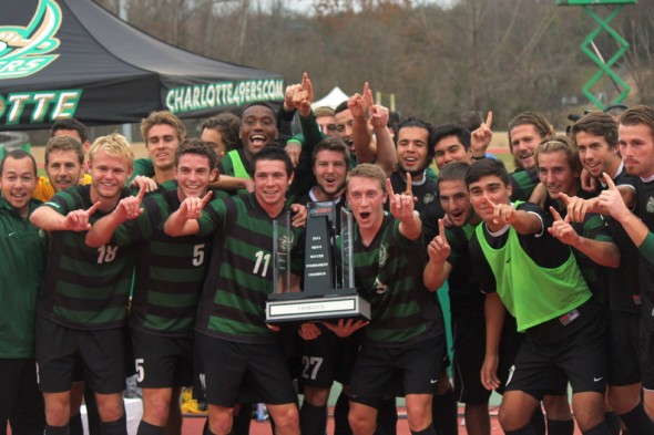 The Charlotte 49ers are the 2013 Conference USA men's soccer champions. (photo courtesy Kevin Harbin)