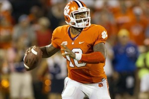 Aug 31, 2013; Clemson, SC, USA; Clemson Tigers quarterback Tajh Boyd (10) looks to pass the ball during the second quarter against the Georgia Bulldogs at Clemson Memorial Stadium. Mandatory Credit: Jeremy Brevard-USA TODAY Sports