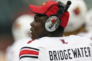 Oct 5, 2013; Philadelphia, PA, USA; Louisville Cardinals quarterback Teddy Bridgewater (5) along the sidelines during the fourth quarter against the Temple Owls at Lincoln Financial Field. Louisville defeated Temple 30-7. Mandatory Credit: Howard Smith-USA TODAY Sports