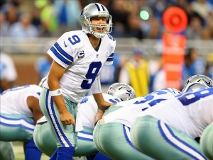 Oct 27, 2013; Detroit, MI, USA; Dallas Cowboys quarterback Tony Romo (9) changes the play at the line of scrimmage during 1st quarter of a game against the Detroit Lions at Ford Field. Mandatory Credit: Mike Carter-USA TODAY Sports