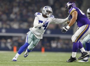 Aug 29, 2015; Arlington, TX, USA; Dallas Cowboys defensive end Randy Gregory (94) in action against Minnesota Vikings guard David Yankey (66) at AT&T Stadium. Mandatory Credit: Matthew Emmons-USA TODAY Sports