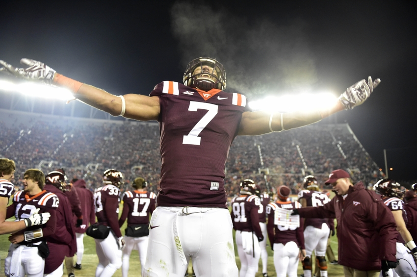 Nov 28, 2014; Blacksburg, VA, USA; Virginia Tech Hokies tight end Bucky Hodges (7) reacts late in the fourth quarter. The Hokies defeated the Virginia Cavaliers 24-20 at Lane Stadium. Mandatory Credit: Bob Donnan-USA TODAY Sports
