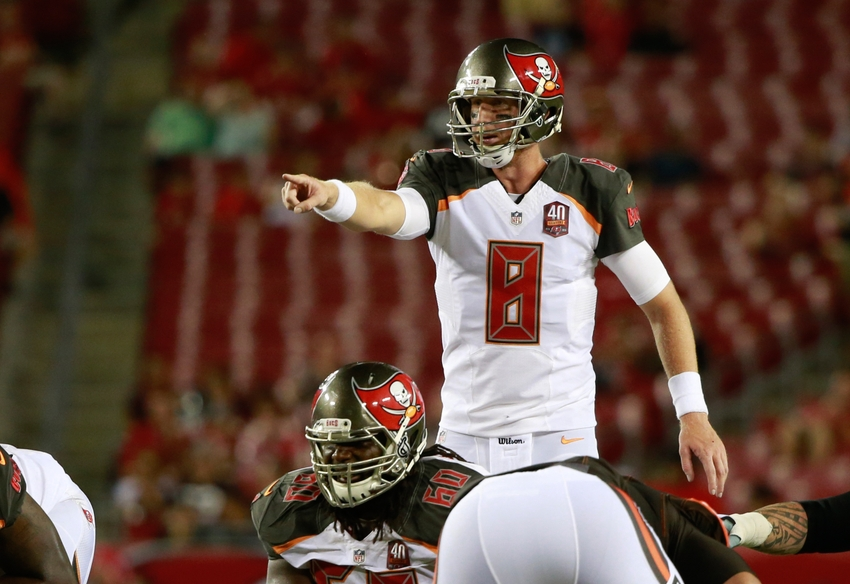Aug 29, 2015; Tampa, FL, USA; Tampa Bay Buccaneers quarterback Mike Glennon (8) calls a play against the Cleveland Browns during the second half at Raymond James Stadium. Cleveland Browns defeated the Tampa Bay Buccaneers 31-7. Mandatory Credit: Kim Klement-USA TODAY Sports