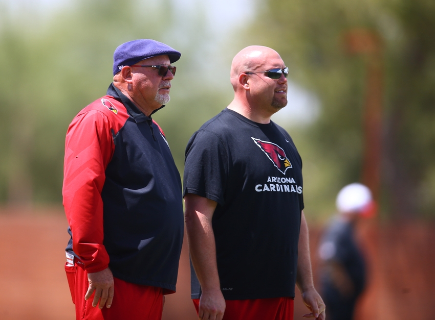 May 6, 2016; Tempe, AZ, USA; Arizona Cardinals head coach Bruce Arians (left) with general manager Steve Keim during rookie minicamp at the Cardinals Training Facility. Mandatory Credit: Mark J. Rebilas-USA TODAY Sports